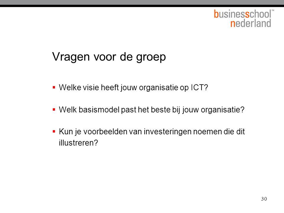 Vragen voor de groep Welke visie heeft jouw organisatie op ICT