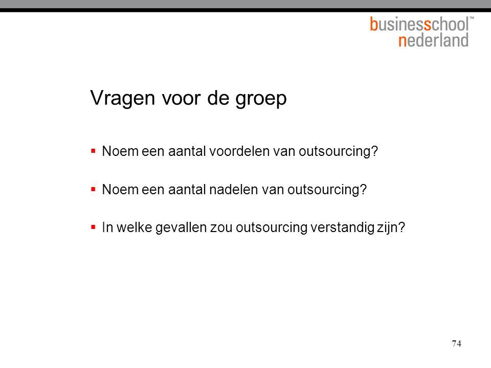Vragen voor de groep Noem een aantal voordelen van outsourcing