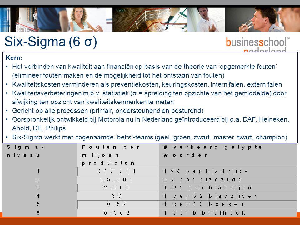 Six-Sigma (6 σ) 6 stappen: Definiëren Meten Analyseren Verbeteren