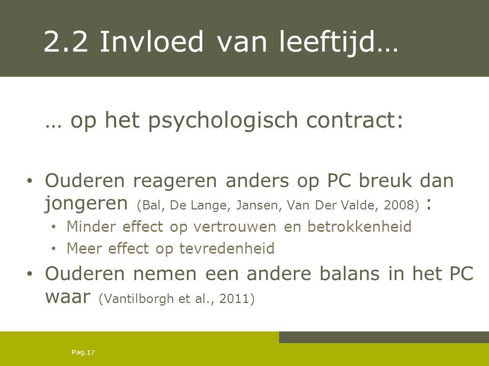 2.2 Invloed van leeftijd… … op het psychologisch contract: