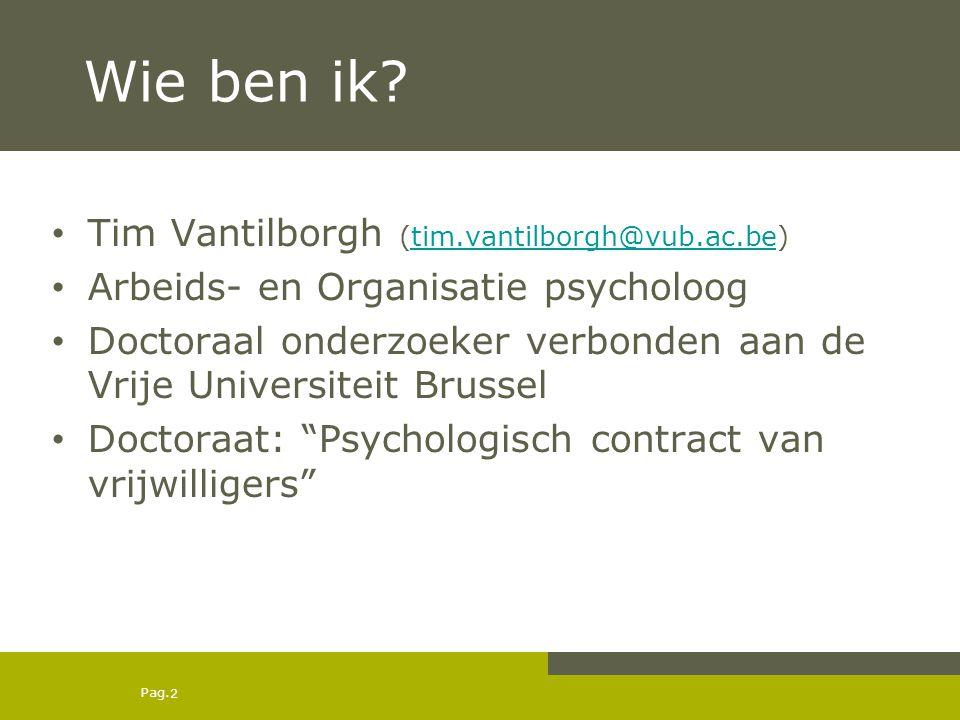 Wie ben ik Tim Vantilborgh (tim.vantilborgh@vub.ac.be)