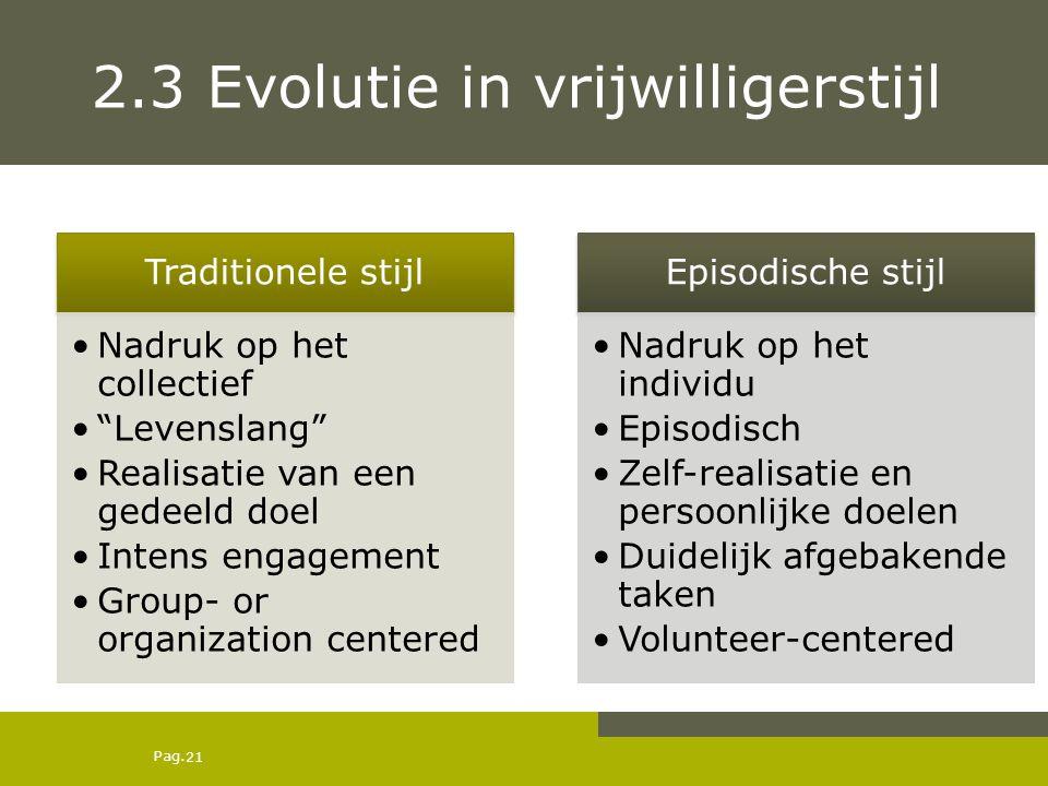 2.3 Evolutie in vrijwilligerstijl