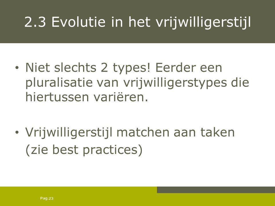 2.3 Evolutie in het vrijwilligerstijl