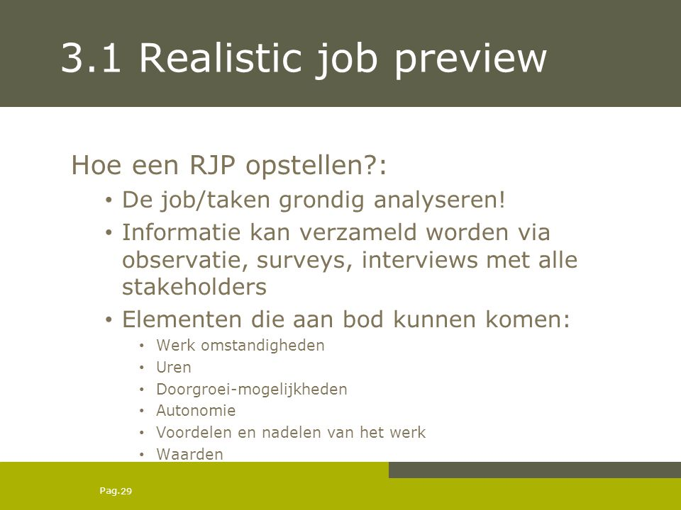 3.1 Realistic job preview Hoe een RJP opstellen :