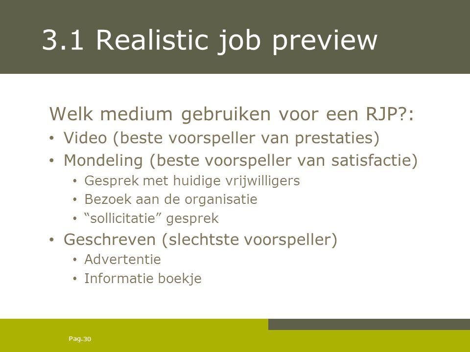3.1 Realistic job preview Welk medium gebruiken voor een RJP :