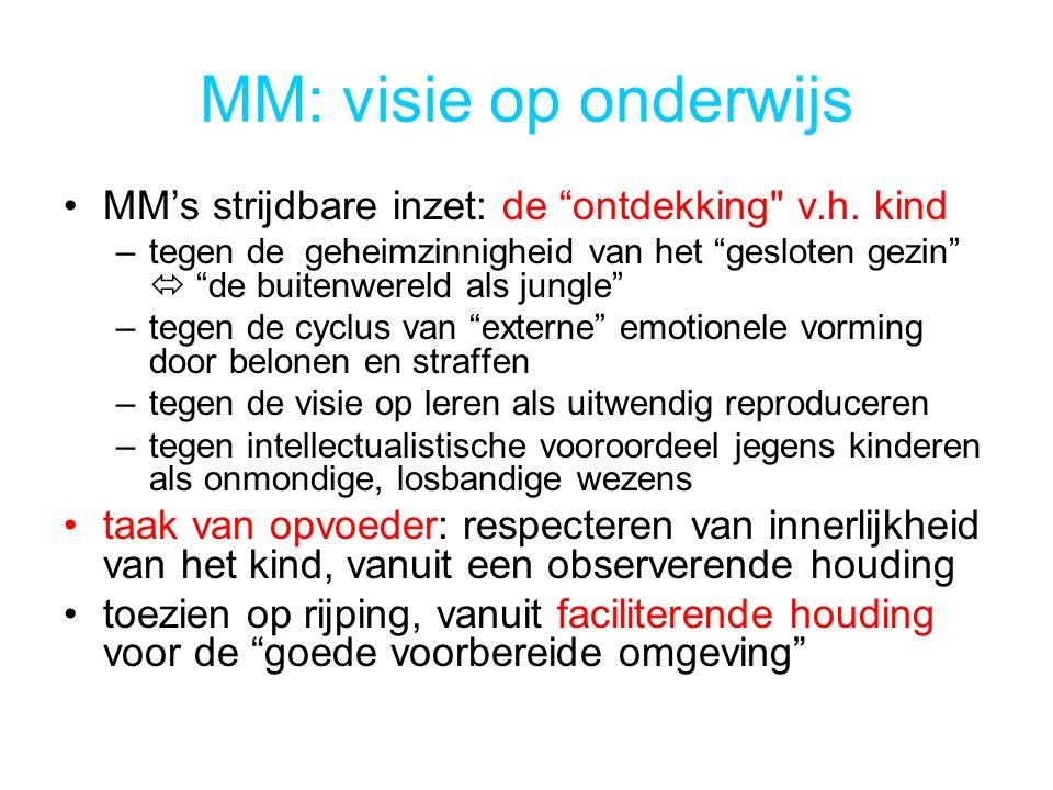 MM: visie op onderwijs MM's strijdbare inzet: de ontdekking v.h. kind.