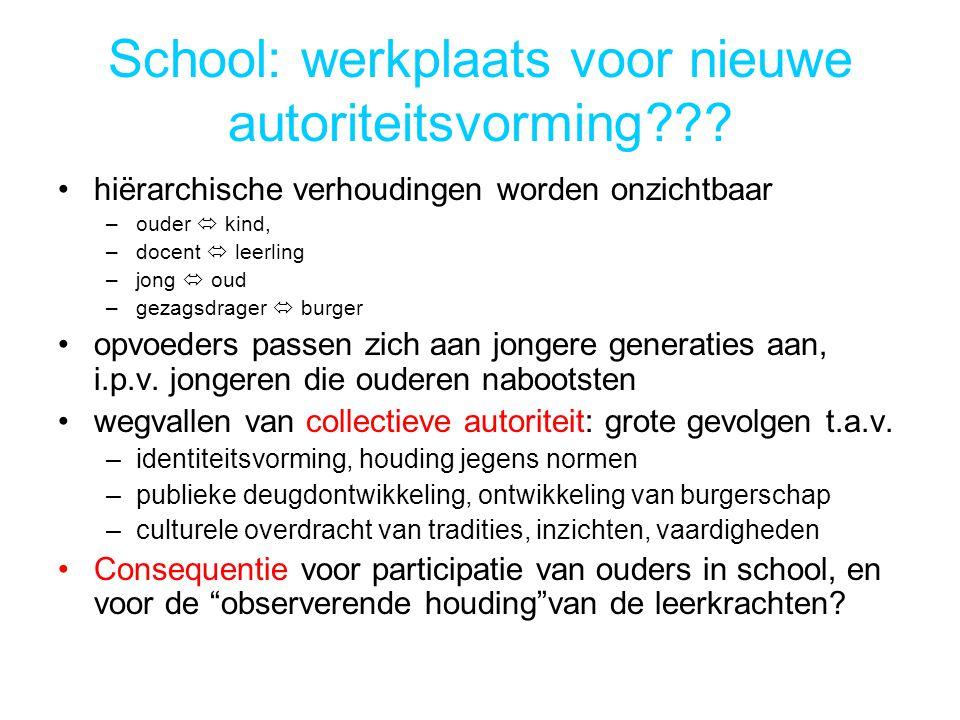 School: werkplaats voor nieuwe autoriteitsvorming