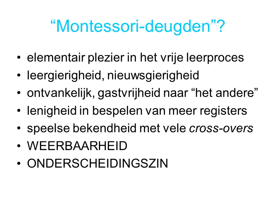 Montessori-deugden