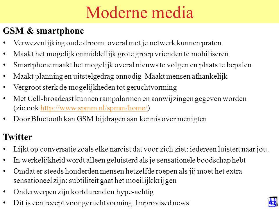 Moderne media GSM & smartphone Twitter