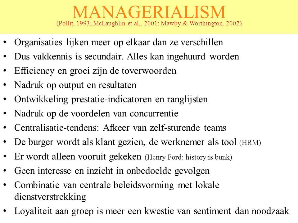 MANAGERIALISM (Pollit, 1993; McLaughlin et al