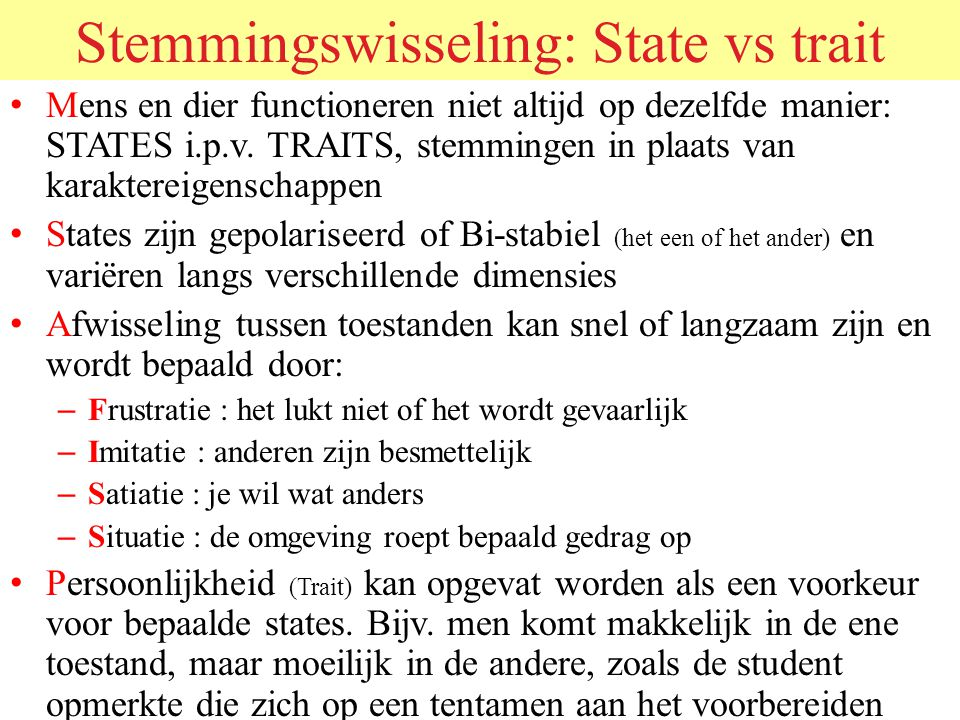 Stemmingswisseling: State vs trait