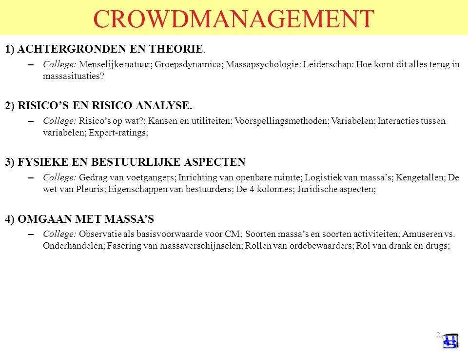 CROWDMANAGEMENT 1) ACHTERGRONDEN EN THEORIE.
