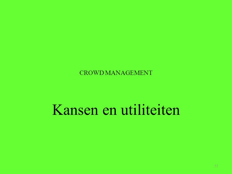 CROWD MANAGEMENT Kansen en utiliteiten 55