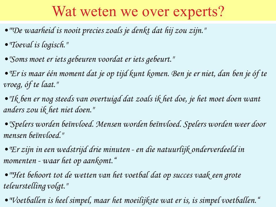 Wat weten we over experts