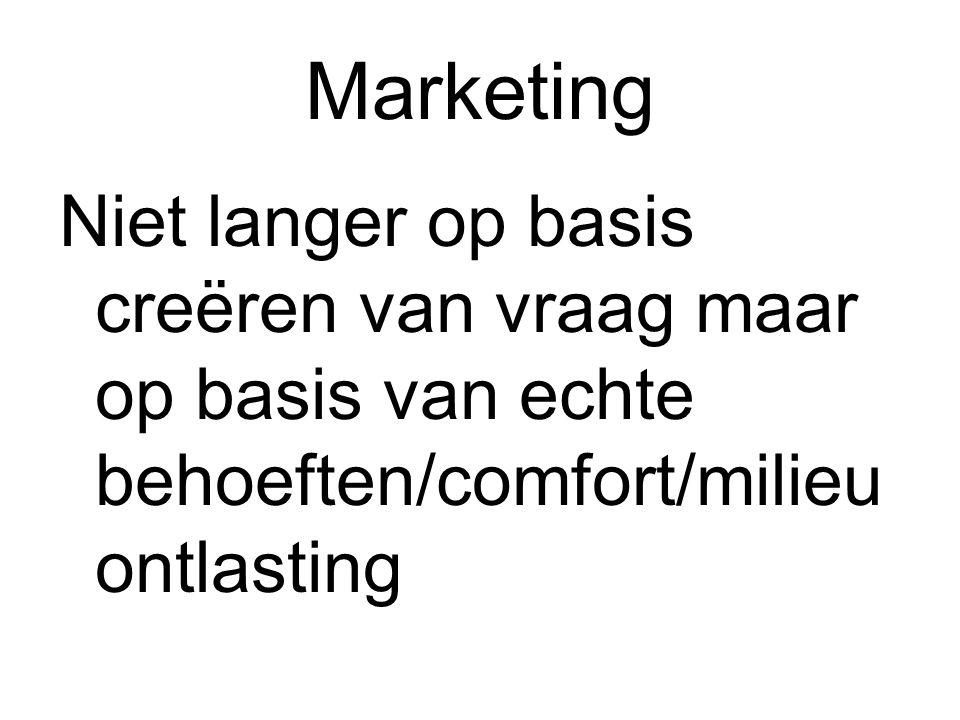 Marketing Niet langer op basis creëren van vraag maar op basis van echte behoeften/comfort/milieuontlasting.