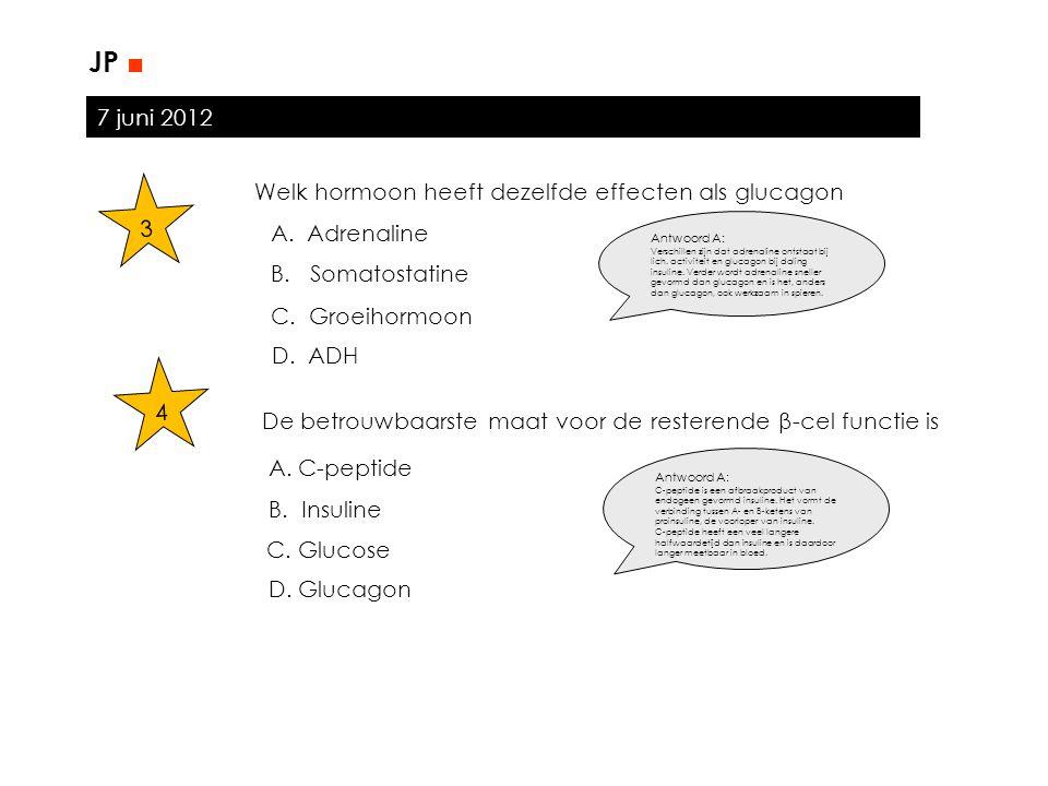 JP ■ 7 juni 2012 Welk hormoon heeft dezelfde effecten als glucagon 3