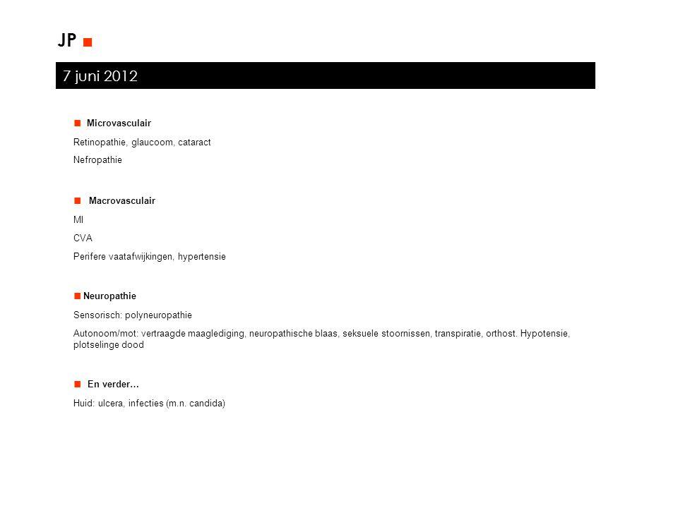 JP ■ 7 juni 2012 ■ Microvasculair ■ Macrovasculair ■ Neuropathie