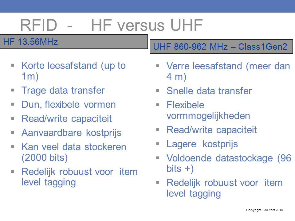 RFID - HF versus UHF Korte leesafstand (up to 1m)