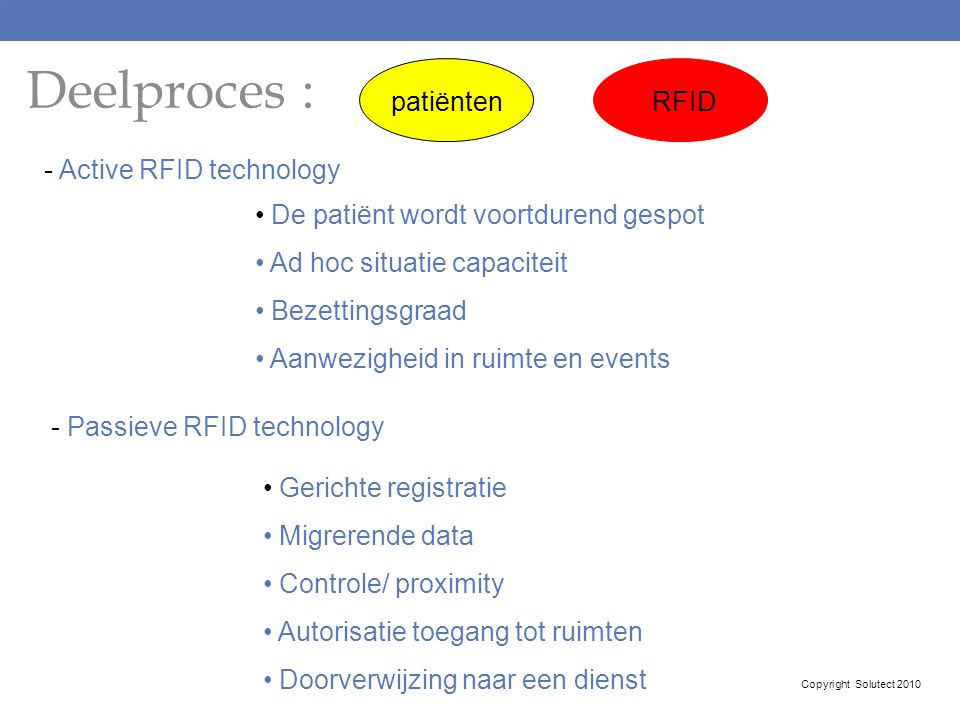 Deelproces : patiënten RFID - Active RFID technology