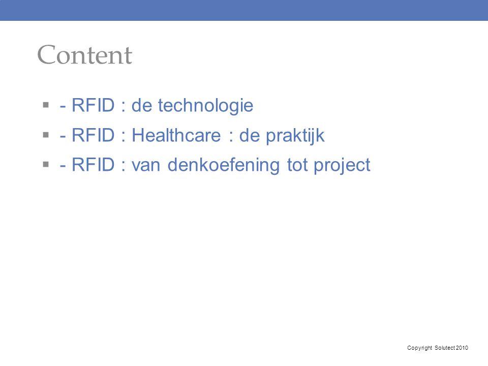 Content - RFID : de technologie - RFID : Healthcare : de praktijk
