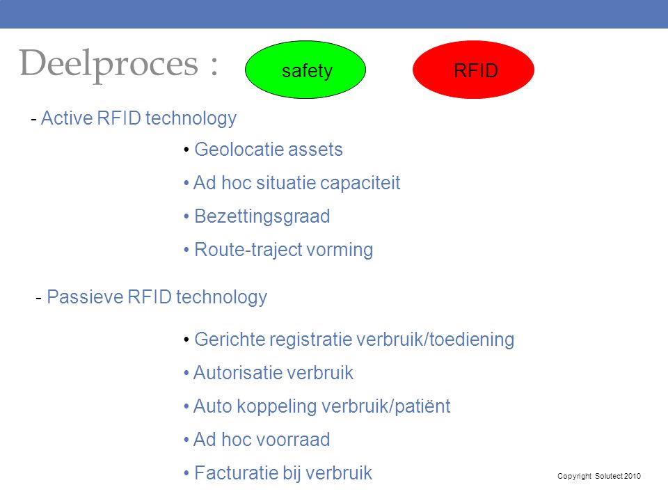 Deelproces : safety RFID - Active RFID technology Geolocatie assets