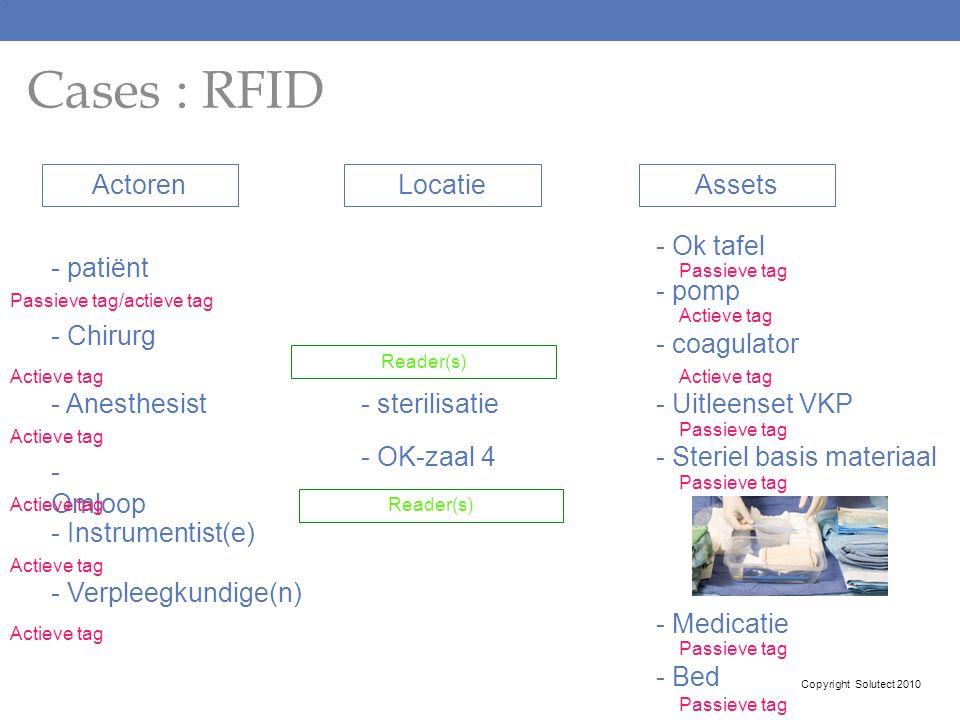 Cases : RFID Actoren Locatie Assets - Ok tafel - patiënt - pomp