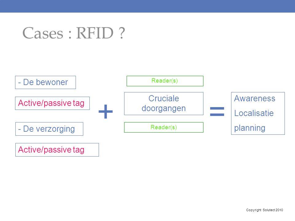 + = Cases : RFID - De bewoner Active/passive tag Cruciale doorgangen