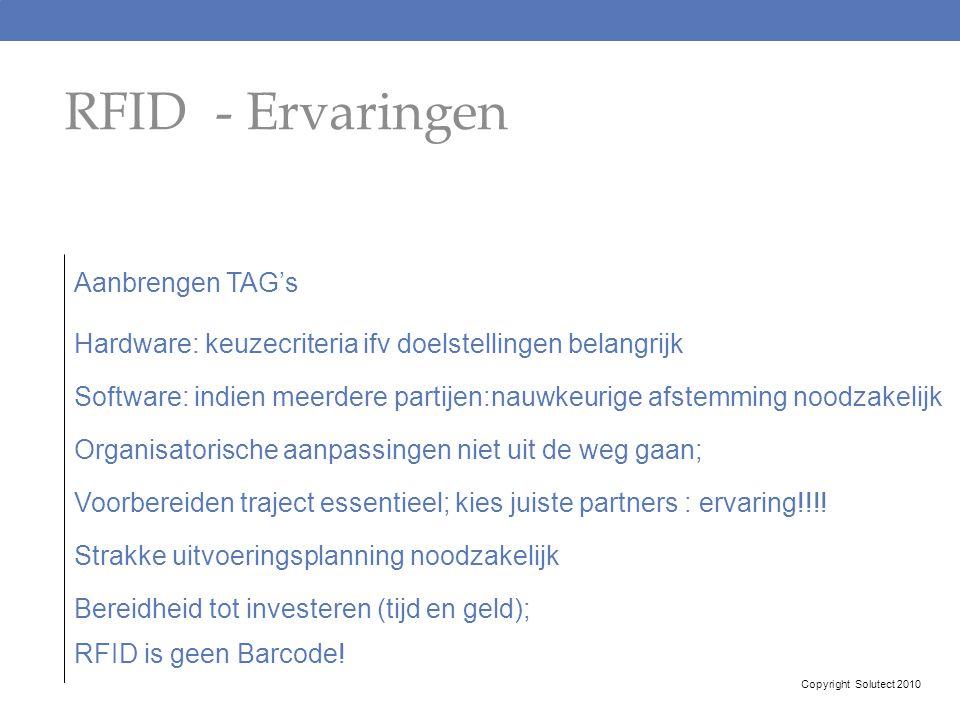 RFID - Ervaringen Aanbrengen TAG's