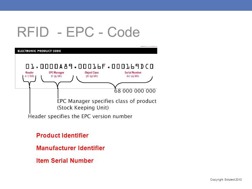 RFID - EPC - Code Product Identifier Manufacturer Identifier
