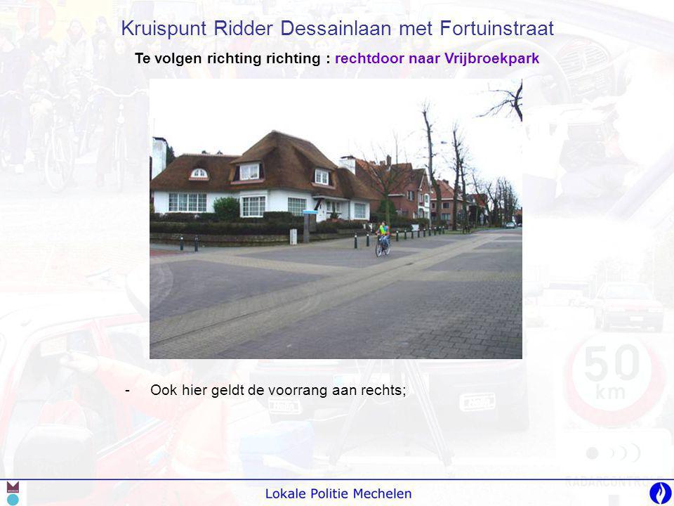Te volgen richting richting : rechtdoor naar Vrijbroekpark