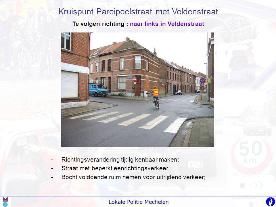 Te volgen richting : naar links in Veldenstraat