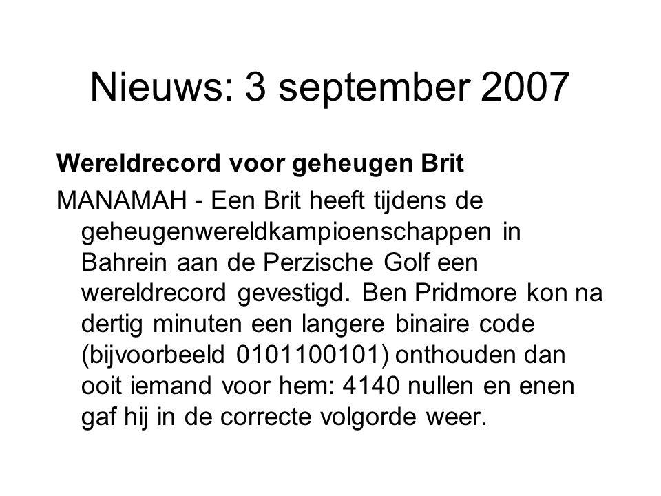 Nieuws: 3 september 2007 Wereldrecord voor geheugen Brit