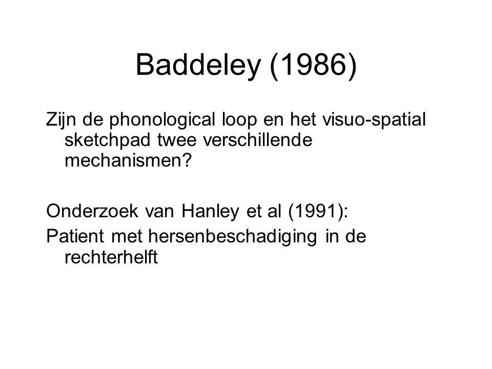 Baddeley (1986) Zijn de phonological loop en het visuo-spatial sketchpad twee verschillende mechanismen