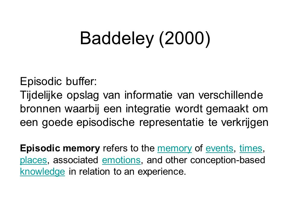 Baddeley (2000) Episodic buffer: