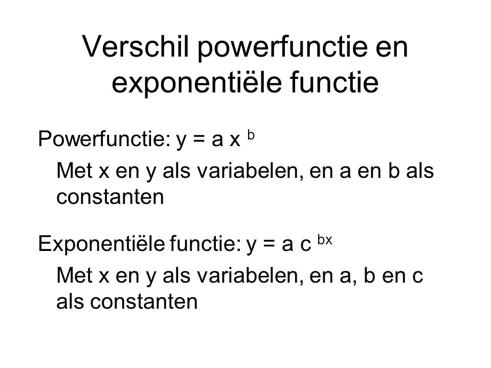Verschil powerfunctie en exponentiële functie