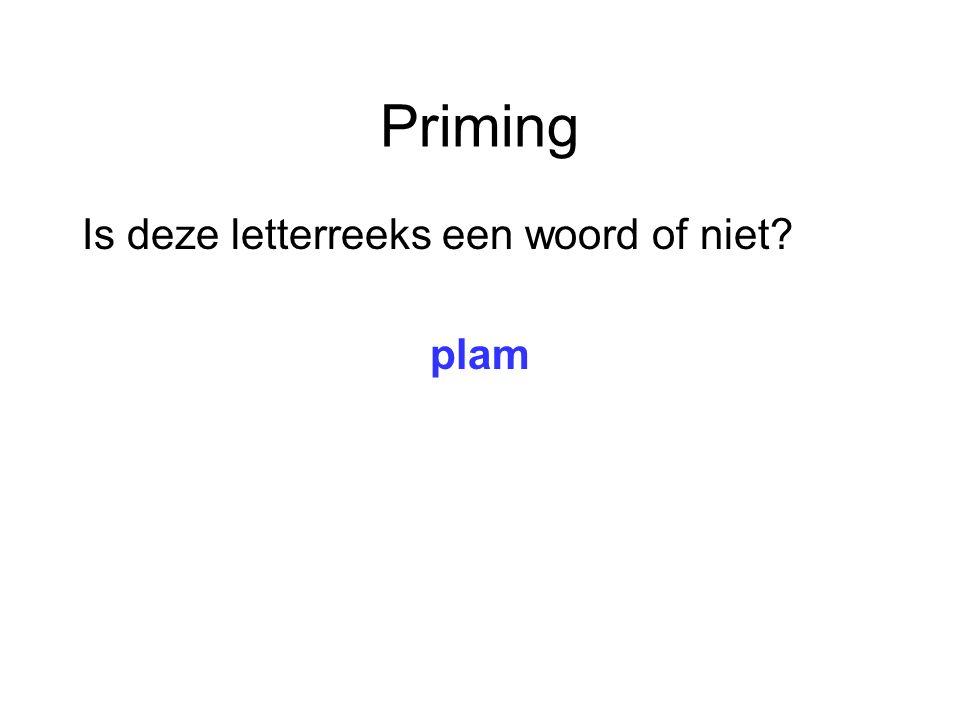 Priming Is deze letterreeks een woord of niet plam