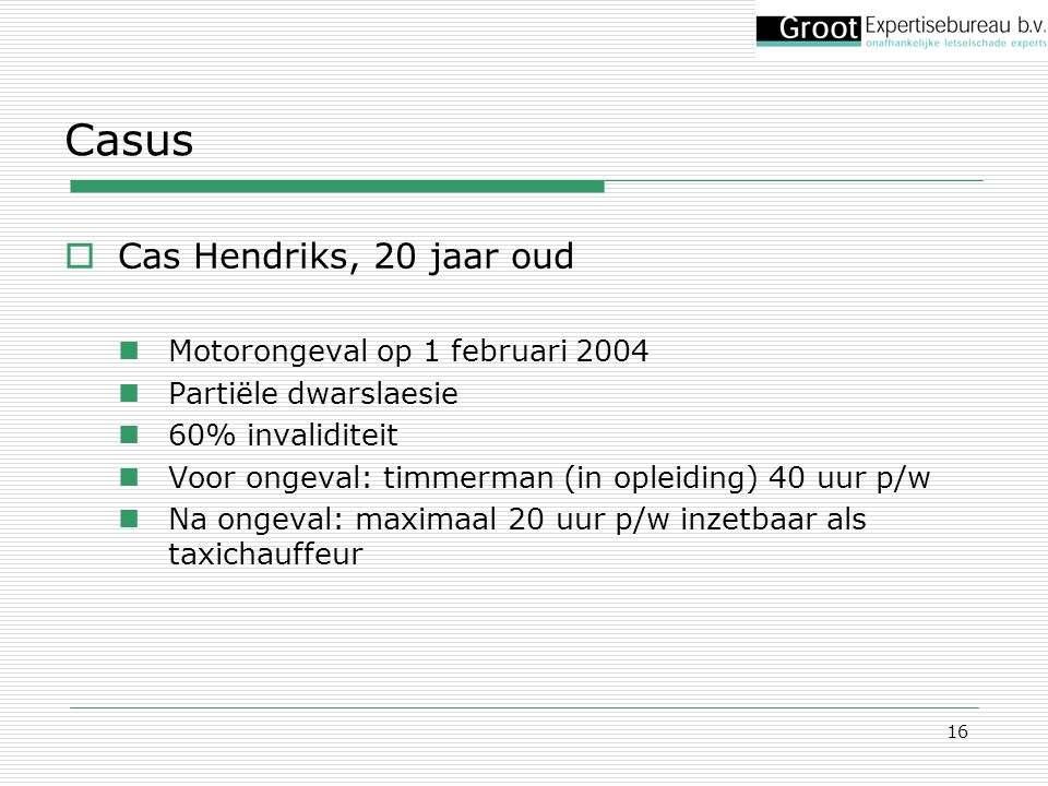 Casus Cas Hendriks, 20 jaar oud Motorongeval op 1 februari 2004