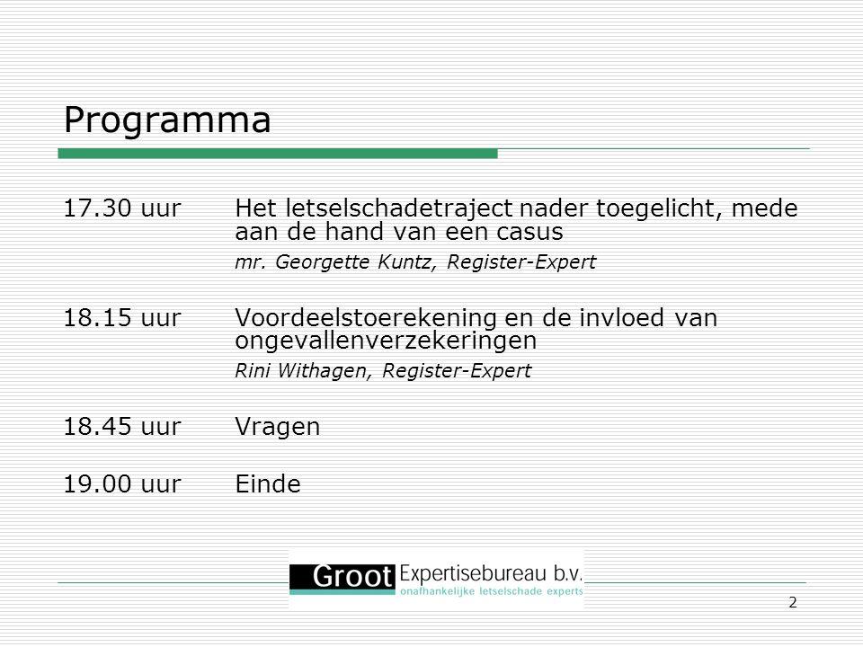 Programma 17.30 uur Het letselschadetraject nader toegelicht, mede aan de hand van een casus. mr. Georgette Kuntz, Register-Expert.