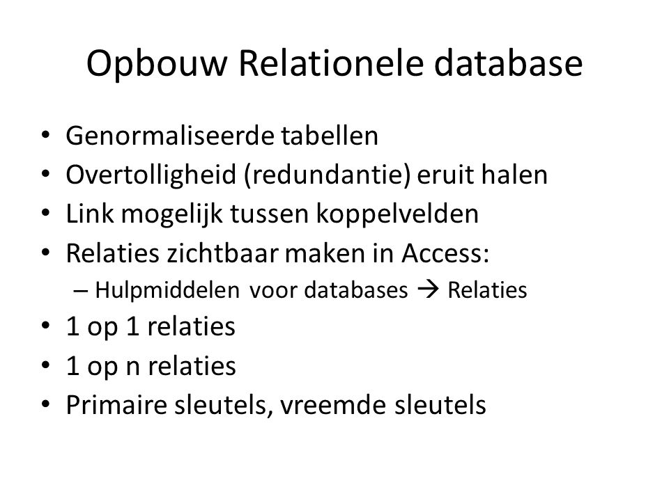 Opbouw Relationele database