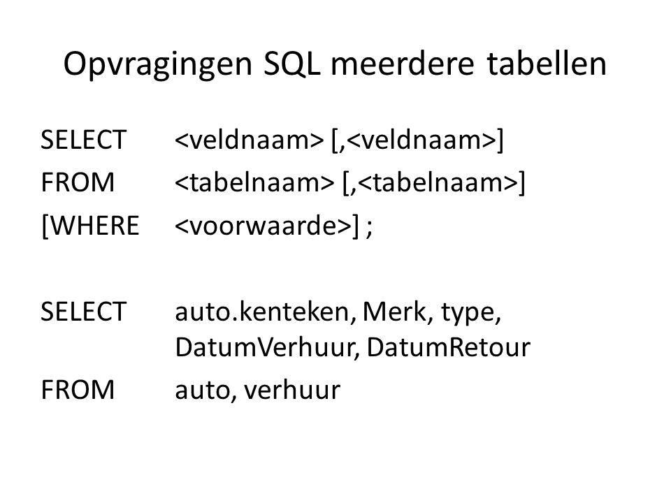 Opvragingen SQL meerdere tabellen