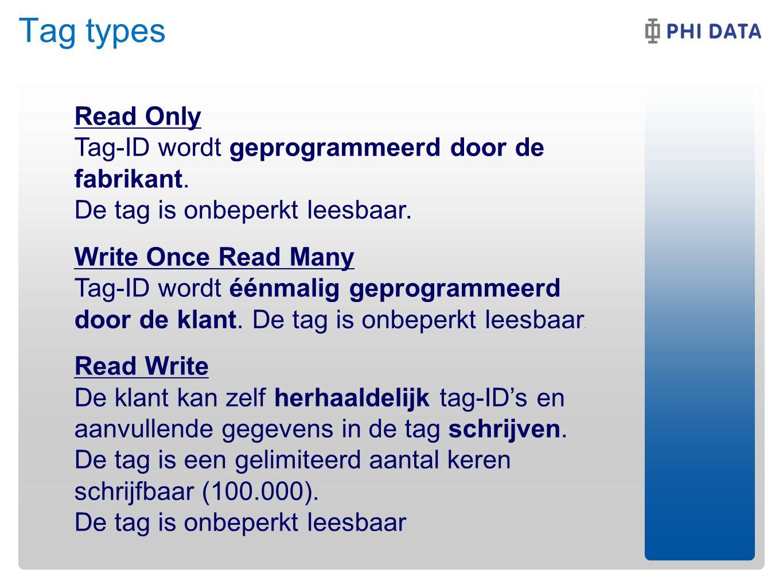 Tag types Read Only Tag-ID wordt geprogrammeerd door de fabrikant. De tag is onbeperkt leesbaar.