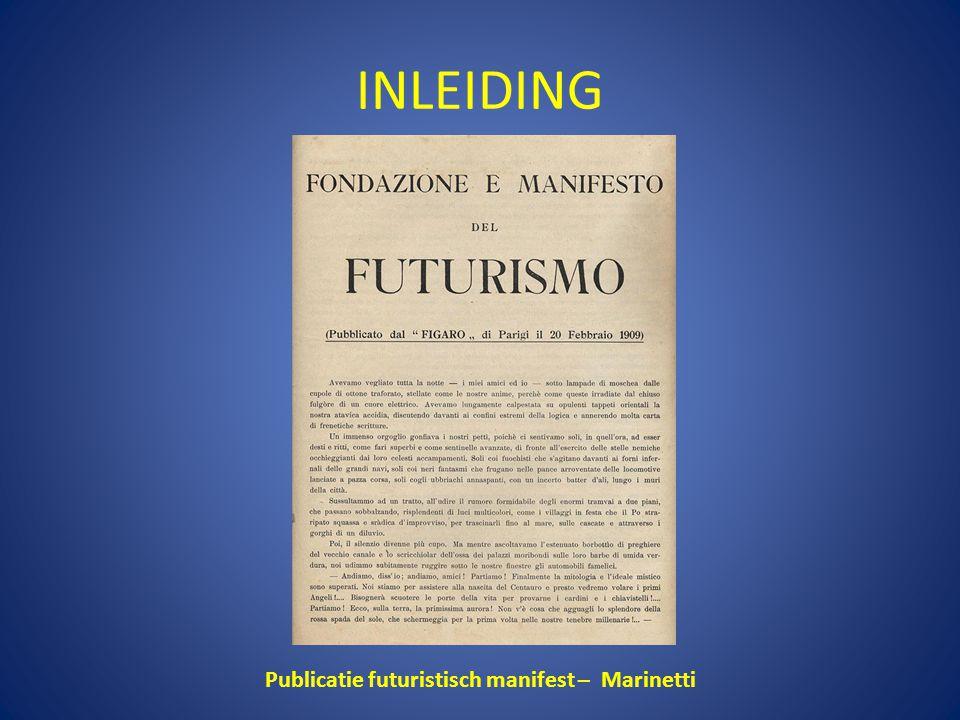 Publicatie futuristisch manifest – Marinetti