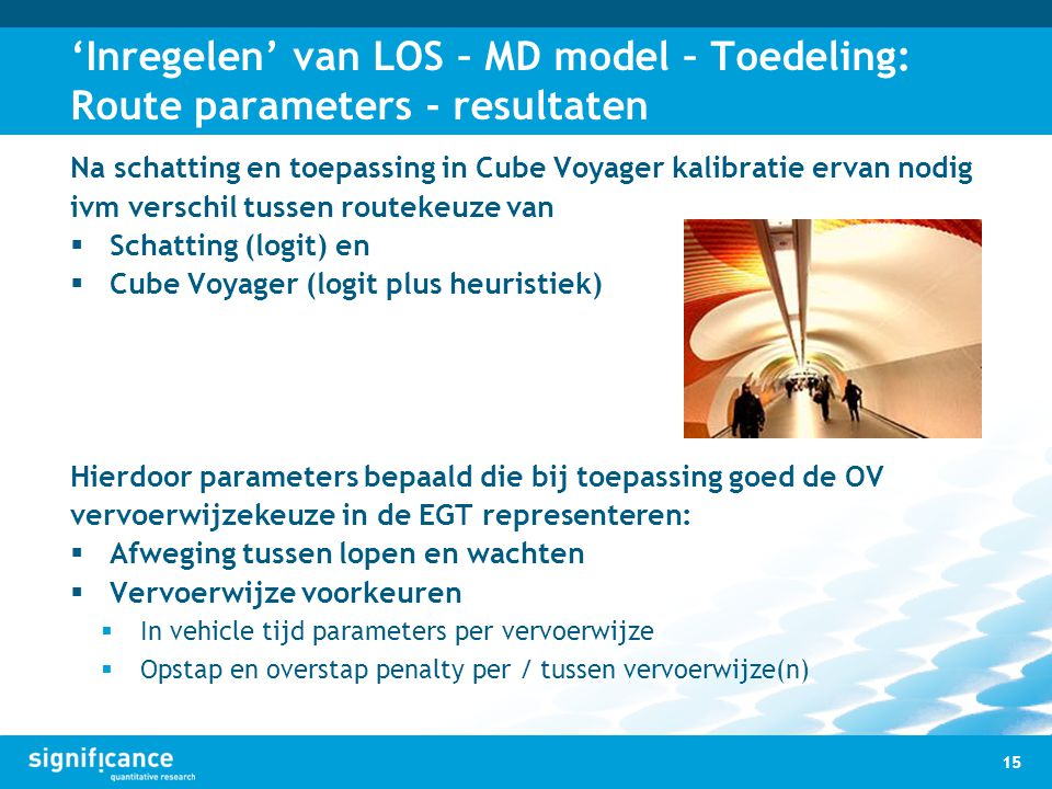 'Inregelen' van LOS – MD model – Toedeling: Route parameters - resultaten
