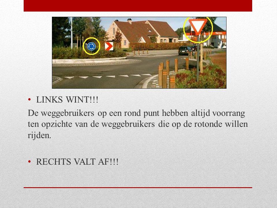LINKS WINT!!! De weggebruikers op een rond punt hebben altijd voorrang ten opzichte van de weggebruikers die op de rotonde willen rijden.
