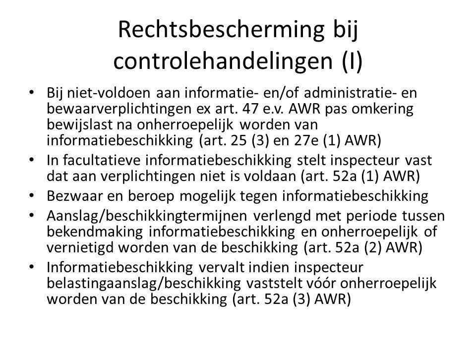 Rechtsbescherming bij controlehandelingen (I)