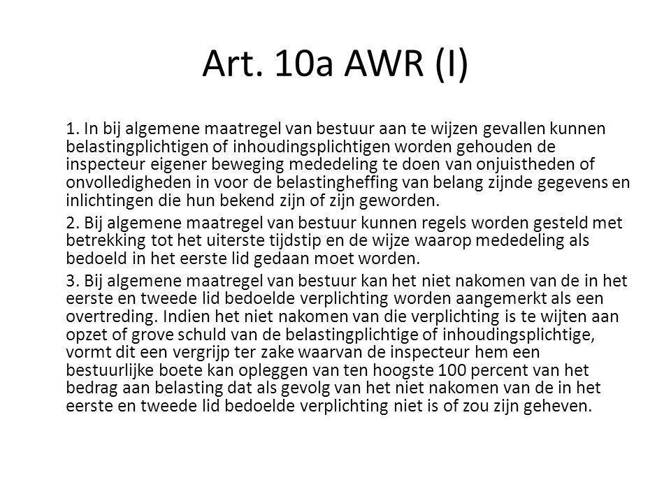 Art. 10a AWR (I)