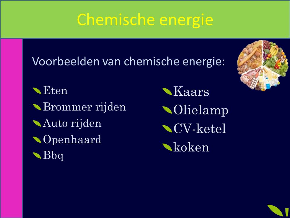 Chemische energie Voorbeelden van chemische energie: Kaars Olielamp