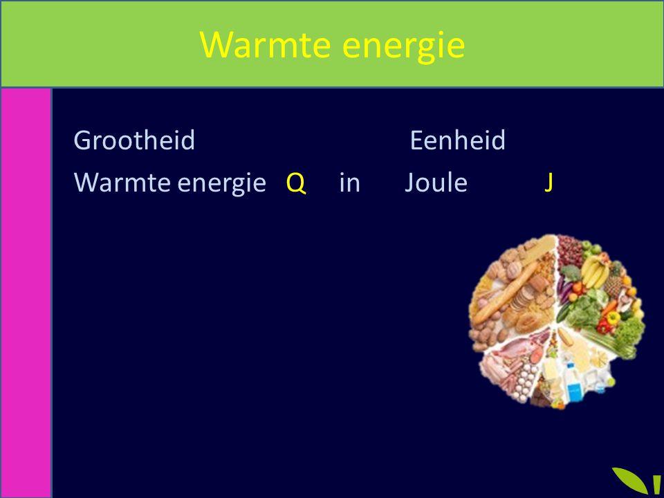 Warmte energie Grootheid Eenheid Warmte energie Q in Joule J