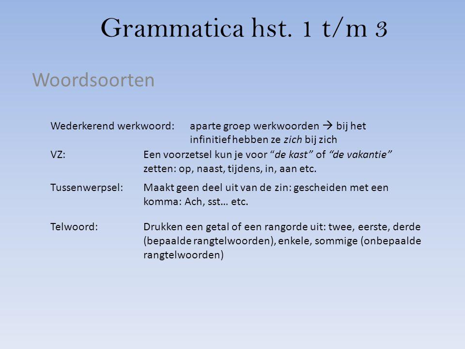 Grammatica hst. 1 t/m 3 Woordsoorten