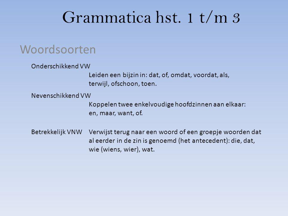 Grammatica hst. 1 t/m 3 Woordsoorten Onderschikkend VW